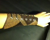 Faux Suede and Tooled Leather Patchwork Archery Bracer - One Size