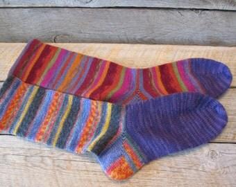 CRAZY! W 10-11, Superwash Wool Diabetic Socks, W 10-11, M 8-9 shoe size Ready to Ship Today!!