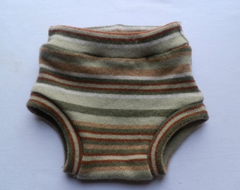 Earth tones striped diaper cover soaker - size medium - 6-9 months