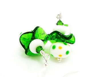Green White Yellow Polka Dot Ruffle Earrings, Glass Earrings, Lampwork Earrings, Fun Earrings, Unique Earrings, Dangle Earrings, Beadwork