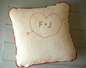 Tree Carved Initials - Decorative Pillow Cover - Wedding - Anniversary -  Gift - Custom - Personalize - Home Decor - Hand Embroidered