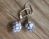 Porcelain Blue N White dangle drop earrings #24