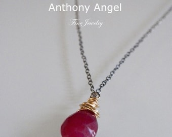 Almond cut African Ruby Drop Necklace