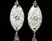 Fine Silver Crystal Quartz Drop Earrings