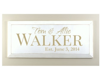 Personalized Family Name Sign Plaque Established Family Sign 10x24 Carved Engraved Wall Sign With Beveled Edge