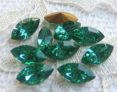 10x5 mm, Swarovski Rhinestone, Light Emerald Green, Loose, Glass Jewel, Navette Qty 10