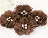 NEW: 4 pcs Aubrey BROWN - Soft Chiffon with pearls and rhinestones Mesh Layered Small Fabric Flowers, Hair accessories