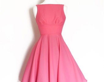 Candy Pink Crepe Swing Dress- Made by Dig For Victory