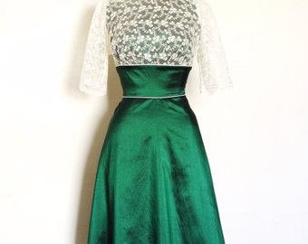 UK Size 16 Emerald Green Taffeta & Ivory Lace Evening Dress with A- Line Skirt - Made by Dig For Victory