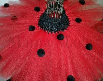 Ladybug Tutu Red with black polka dot tutu Ladybug birthday tutu black tutu sizes newborn 3 mo 6 mo 9 mo 12 mo 18 mo 2t 3t 4t 5 6 8 10 12 14