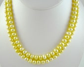 Long Pearl Necklace Long Freshwater Pearl Necklace Long Pale Yellow Pearl Strand Long Yellow Pearls Long Pearl Beaded Necklace Long Pearls