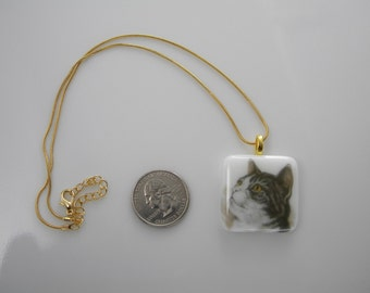 CAT fused glass pendant necklace with chain handmade SYE16