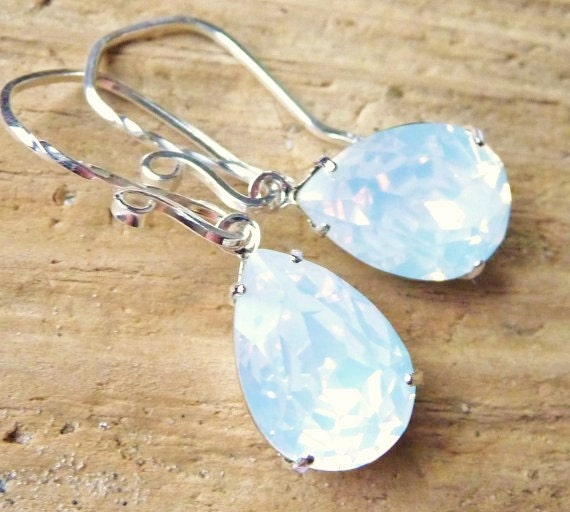 White Opal Crystal Earrings, Swarovski Rhinestone Pear Earrings, Sterling Silver Earrings, Crystal Teardrops, Bridesmaid Gifts, Wedding