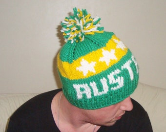 Australia Socceroos Australian hat knit football hat winter hat Beanie Mens Hat Valentines Day Gifts for him mens gift  Green Yellow White