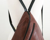 Soft Genuine Leather Triangle Backpack, Beautiful Earthy Rustic color, RARE, Unique Shape!