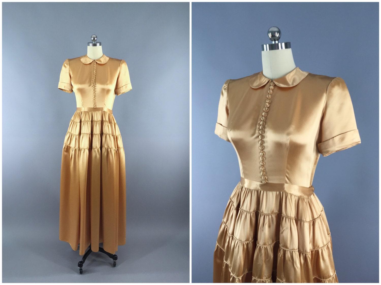 Classic Wedding Dress Satin: Vintage 1940s Dress / Silk Satin Dress / Gold By ThisBlueBird