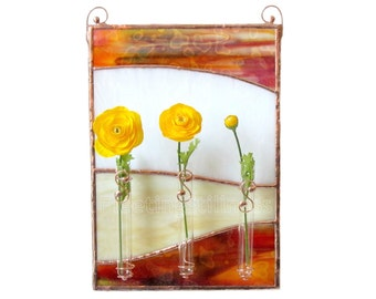 Brown Stained Glass Panel Bud Vase Beige Wall Art Handmade OOAK