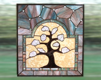 Stained Glass Window Tree of LifePanel Handmade OOAK