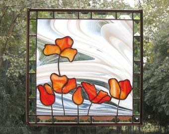 Poppies Stained Glass Panel Suncatcher Poppy Red Tulips Flowers Handmade MADE TO ORDER
