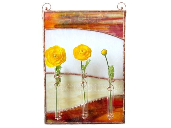 Brown Stained Glass Panel Bud Vase Beige Wall Art Handmade OOAK