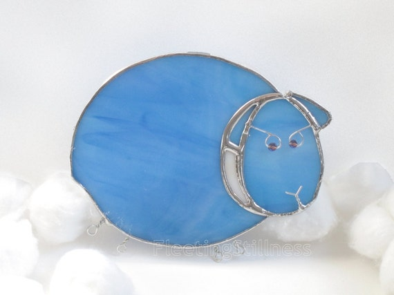 Blue Sheep Nightlight Glass Night Light Stained Glass Handmade OOAK Kids Nursery