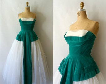 1950s Vintage Formal - 50s Emerald Velvet Tulle Formal Gown - Under the Stars