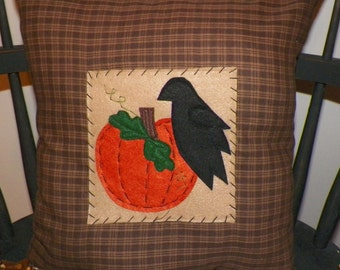 UNSTUFFED Fall Pillow COVER Primitive Crow Pumpkin Patch Decorative Autumn Harvest Halloween Country Home Decor Rustic Brown wvluckygirl