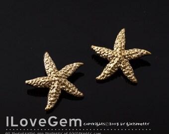 NP-1680 Matt Gold Plated, Star Fish, Pendant, 11mm, 2pcs