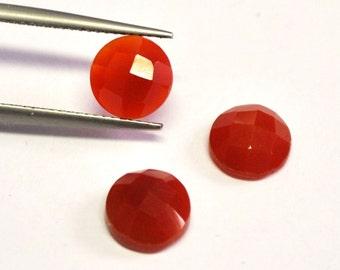 Carnelian Agate Round Faceted Cabochons - 3 pcs Parcel - 8.0 mm - 5.5 ct - 150128-13