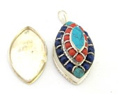 Tibetan silver bean eye shape pendant with turquoise and red blue beads  inlay - PM294E