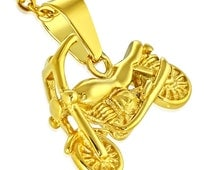 1 Pendant - Gold tone plated Stainless Steel motorcycle bike pendant - ST007F
