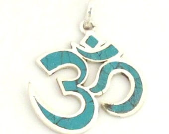 SALE - Tibetan silver plated Om pendant  with turquoise inlay - PM265
