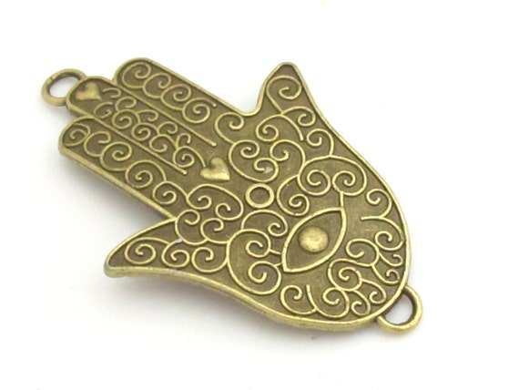 1 Piece - Large size brass tone Hamsa Hand connector pendant with evil eye floral design - BD748A
