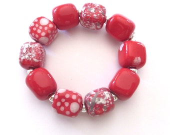 Beaded Bracelet, Kazuri Bangle, Fair Trade, Ceramic Jewellery, Red and White With a Dash of Grey Bracelet