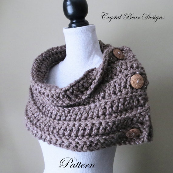 Beginner Crochet Patterns Cowl : Chunky Crochet Cowl PATTERN, Scarf with Buttons, Neck ...