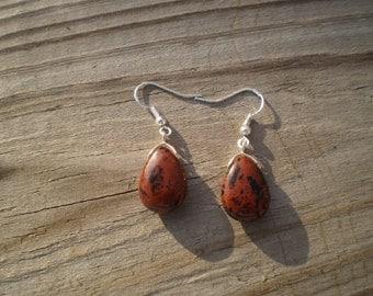 Mahogany Obsidian French Hook Earrings