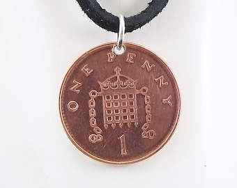 England Coin Necklace, 1 Penny, Coin Pendant, Leather Cord, Mens Necklace, Womens Necklace, Birth Year, 2000