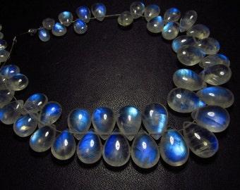 AAAAA-High grade quality - Amazing Flashy Blue Fire Rainbow Moonstone Smooth pear briolett Huge size - 3.5x4.5  - 9.5x14 mm - 51 pcs