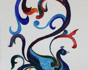 Colorful Peacock Abstract - Original Watercolor Painting - wall art