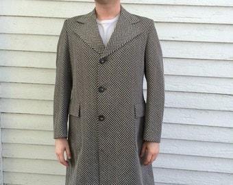 Vintage 70s Mens Coat Long Herringbone Brown Beltback 1970s L