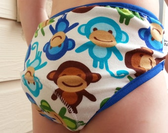 PREMIUM - Gender Neutral Toddler Training Underwear with Waterproof Pad - Monkeys 3019