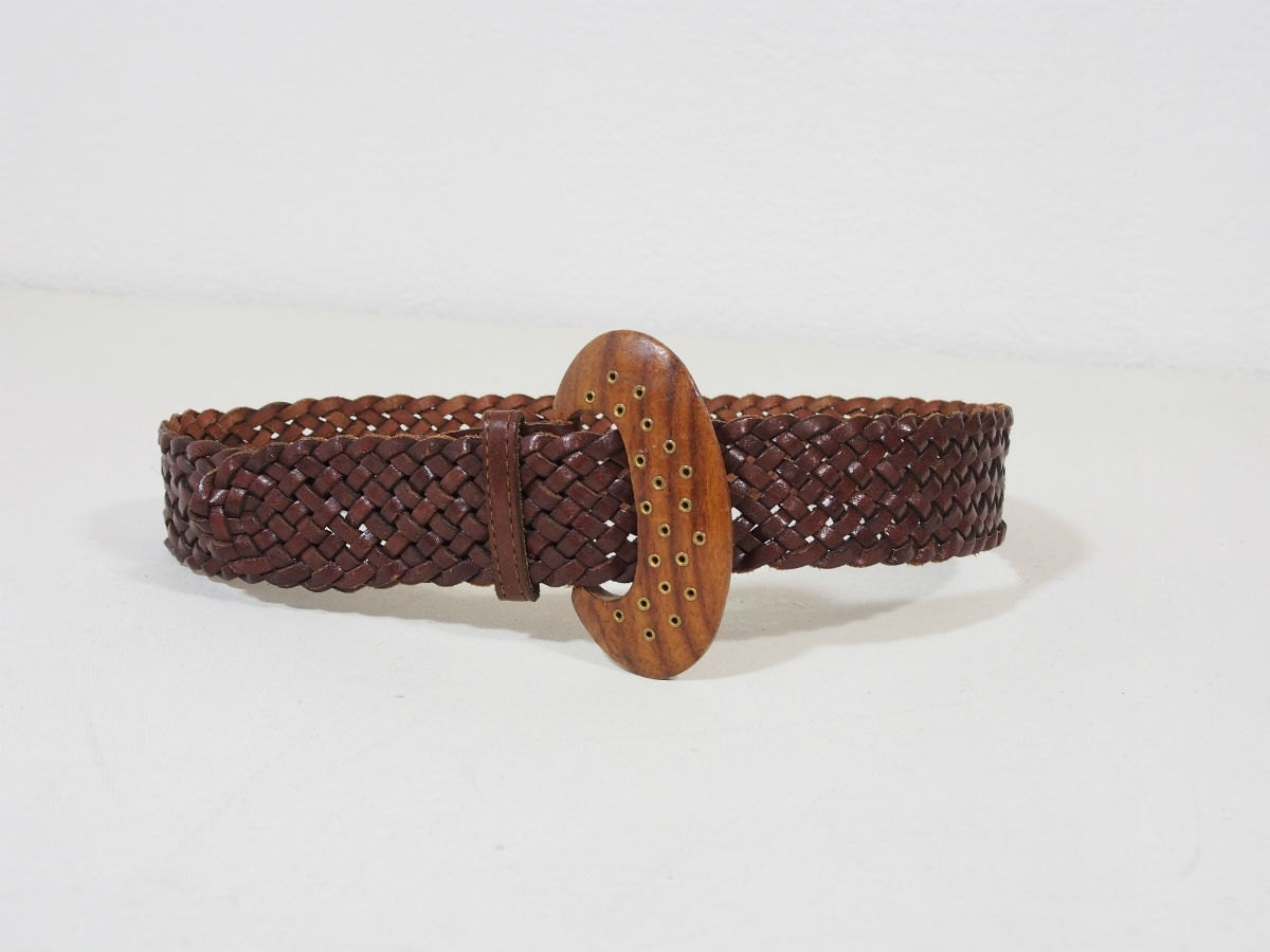 vintage brown braided leather belt with wooden buckle