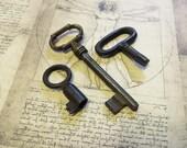 Antique and Vintage Ornate Keys - 3 Genuine Iron Skeleton Keys (S-38).