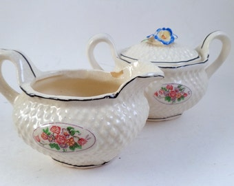 Shabby Cream and sugar bowl - old Japan Some Chips