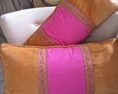 SALE 2 FOR 1 Hot Pink and Orange Lumbar Pillows with Metallic Gimp Down Inserts
