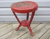 Awesome Old Iron Milking Stool w/ Red Paint