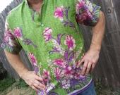 V Neck or Button Down Unisex Indian Sari Silk Fancy Dress Shirt or Scrubs - Morgan 776