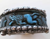 Antique old tribal Sterling silver repousse blue resin lion bracelet bangle cuff from Kathmandu - Nepal Tibet Himalaya
