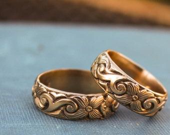 Art Deco Ring, Wedding Ring, 14k Gold Filled Band