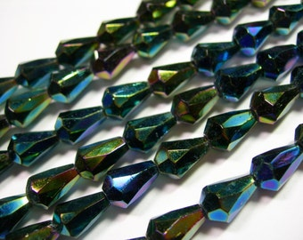 25 Green Iris Czech Glass Faceted Teardrop Beads 10x7mm